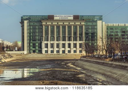 National Library Of Romania And Dambovita River Dried