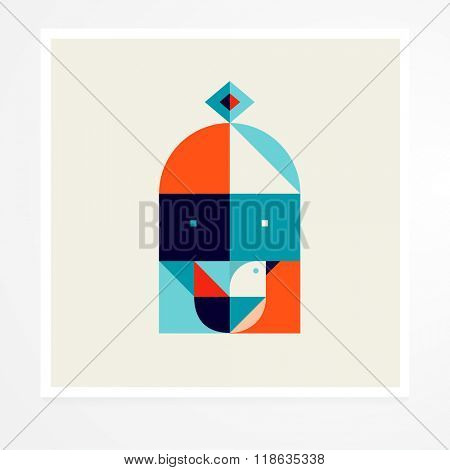 bird in a cage. Geometric bird nature abstract illustration poster