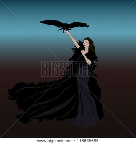 girl bird darkness illustration