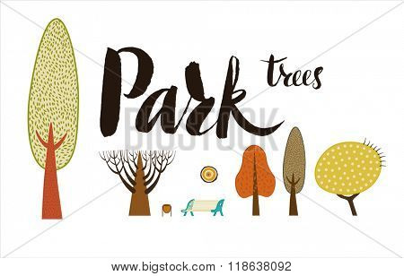 The vector script lettering Park trees and flat forest elements - various trees, a bench and a garbage can.