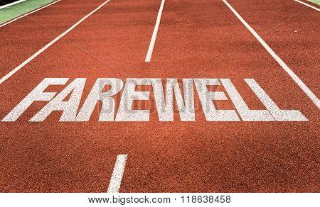 Farewell written on running track