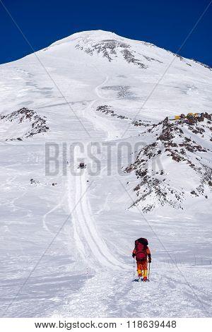 Climbing alpinist in Caucasus mountains Elbrus