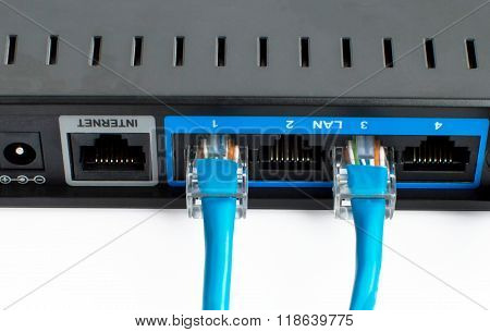 Two Ethernet Crossover Cables  Is Connected To The Router