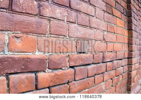 Selective Focus On A Brick Wall At An Angle