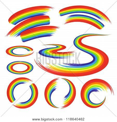 Rainbows In Abstract Shape Set
