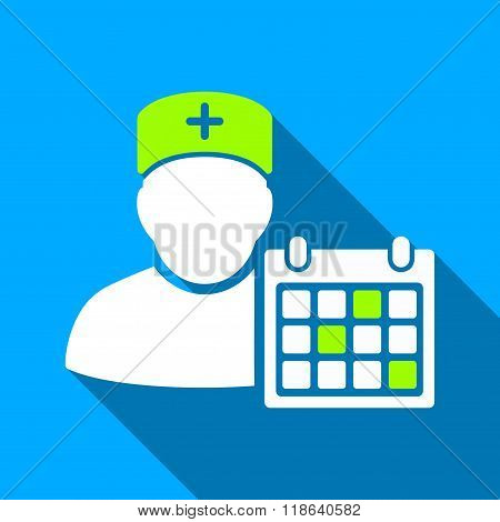 Doctor Appointment Flat Long Shadow Square Icon