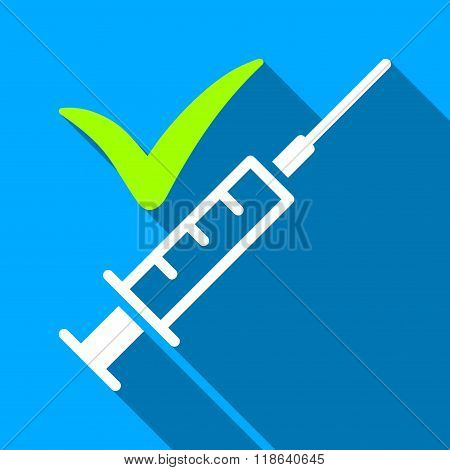 Done Vaccination Flat Long Shadow Square Icon
