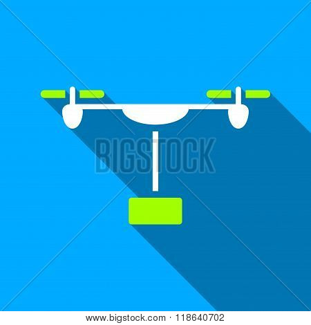 Drone Shipment Flat Long Shadow Square Icon