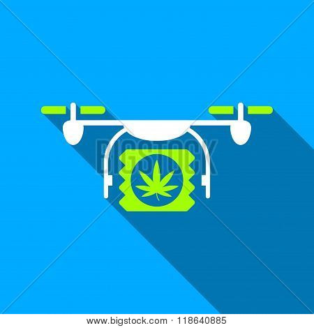 Drugs Drone Shipment Flat Long Shadow Square Icon
