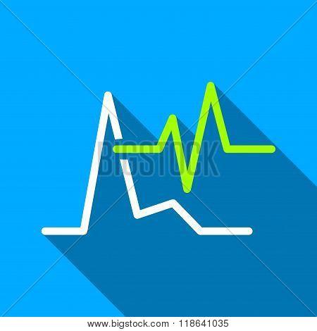 ECG Charts Flat Long Shadow Square Icon