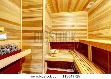 Luxury Master Bathroom With A Sauna.