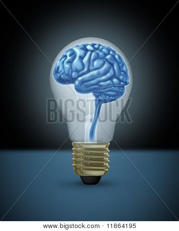Idea brain light bulb innovation brilliant bright light intelligence
