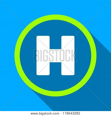 Helicopter Landing Circle Flat Long Shadow Square Icon