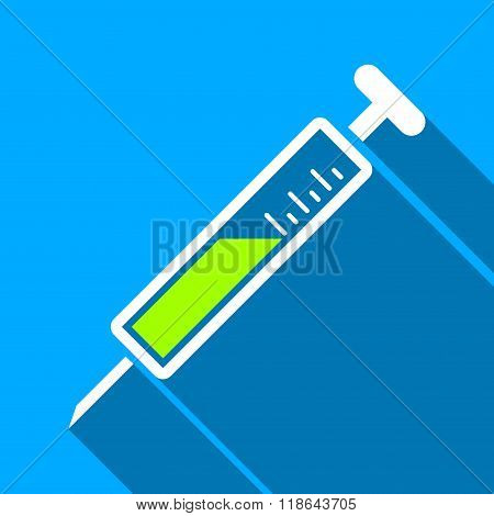 Injection Flat Long Shadow Square Icon