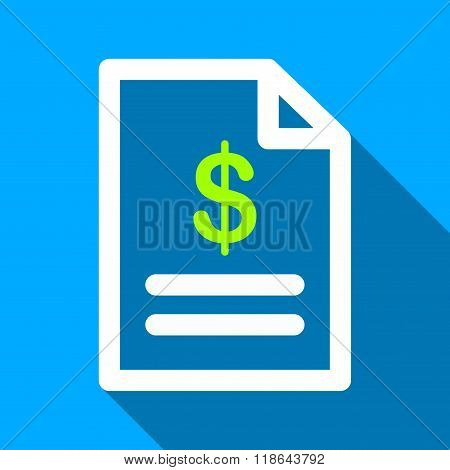 Invoice Page Flat Long Shadow Square Icon