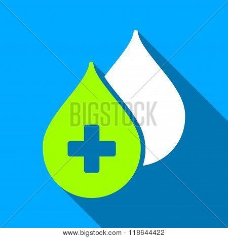 Medical Drops Flat Long Shadow Square Icon