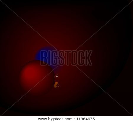 Christmas Bulbs On Red Background