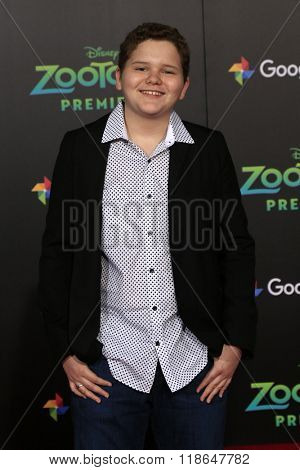 LOS ANGELES - FEB 17:  Cade Sutton at the Zootopia Premiere at the El Capitan Theater on February 17, 2016 in Los Angeles, CA