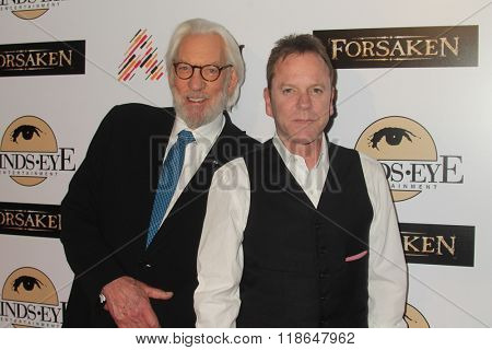 LOS ANGELES - FEB 16:  Donald Sutherland, Kiefer Sutherland at the Forsaken Los Angeles Special Screening at the Autry Museum of the American West on February 16, 2016 in Los Angeles, CA