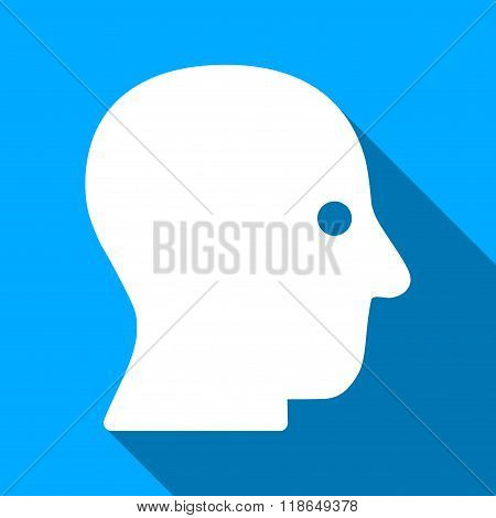 Silent Head Flat Long Shadow Square Icon