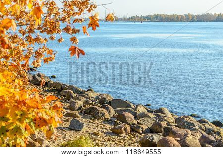 Coastline of Daugava river near Riga port, Latvia