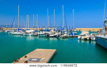 Yachts and fishing boats have some rest in the Old Venetian Harbour