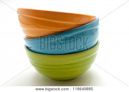 Small colorful ceramic bowl isolated over the white background
