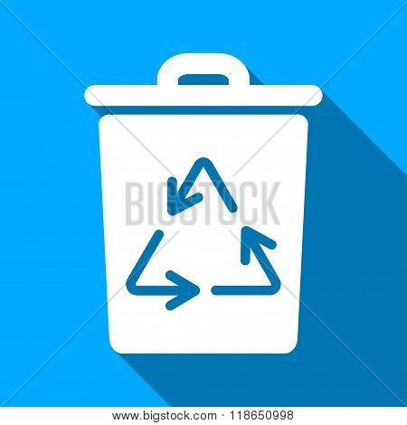 Trash Can Flat Long Shadow Square Icon
