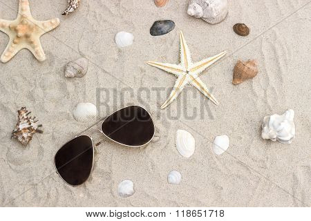 Sun Glasses And Sheashell At Sand Close-up
