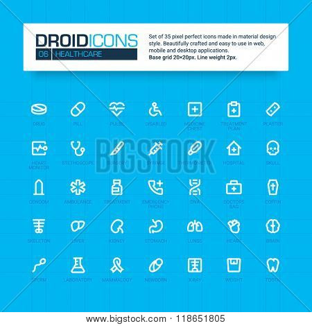 DROID ICONS. Set of 35 flat line art vector icons made in material design style. Easy to use in web, mobile and desktop applications. Medicine and healthcare theme.