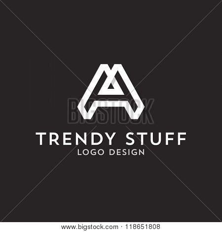 Vector logo design, flat letter A in line-art style. Logotype template.