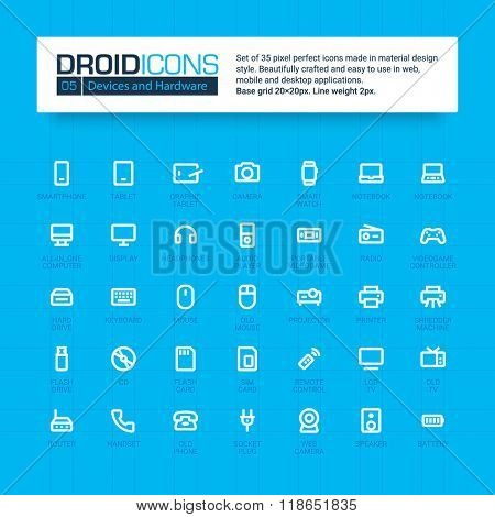 DROID ICONS. Set of 35 flat line art vector icons made in material design style. Easy to use in web, mobile and desktop applications. Devices theme.