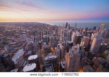 Aerial View Of City Downtown Twilight