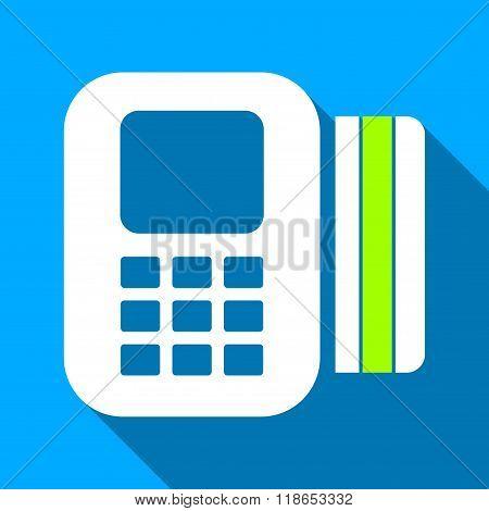 Card Processor Flat Long Shadow Square Icon