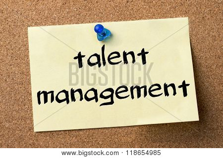 Talent Management - Adhesive Label Pinned On Bulletin Board
