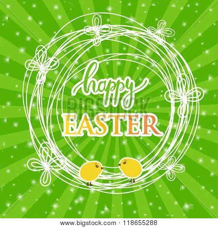 Abstract easter card with a cute yellow chick on green rays background, vector illustration. Happy easter card.