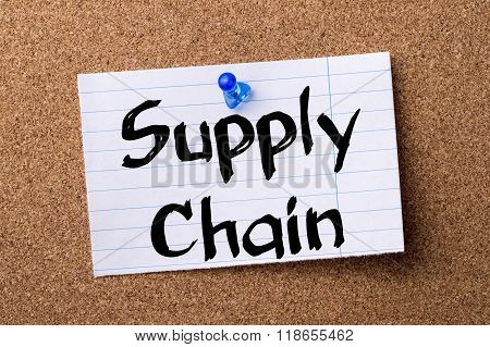 Supply Chain - Teared Note Paper Pinned On Bulletin Board