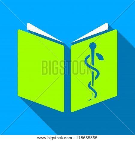 Drug Handbook Flat Long Shadow Square Icon