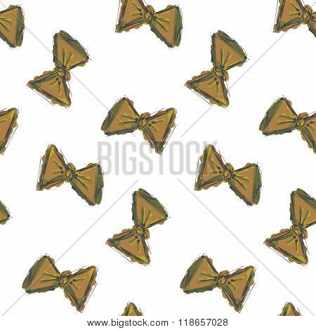 Seamless pattern hand drawn bow tie retro colors. Vector texture, background.