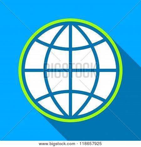 Globe Flat Long Shadow Square Icon