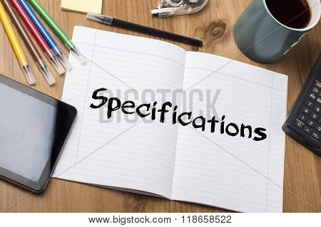 Specifications - Note Pad With Text