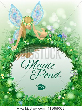 Fairy girl with blue wings seated near the round pond bordered by plants and flowers. Poster and Cover book design. Vector Illustration
