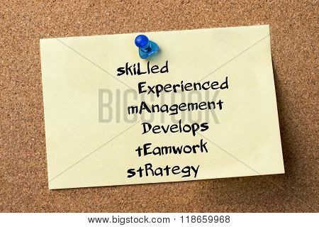 Skilled Experienced Management Develops Teamwork Strategy Leader - Adhesive Label Pinned On Bulletin