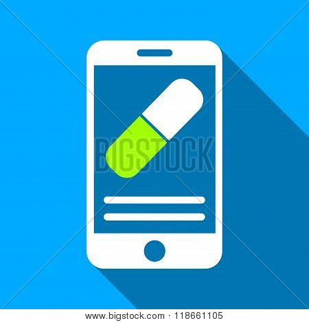 Medication Smartphone Screen Flat Long Shadow Square Icon