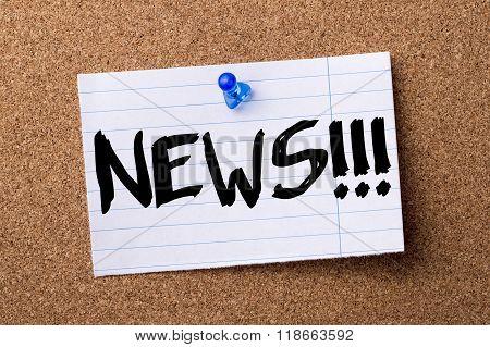 News!!! - Teared Note Paper Pinned On Bulletin Board