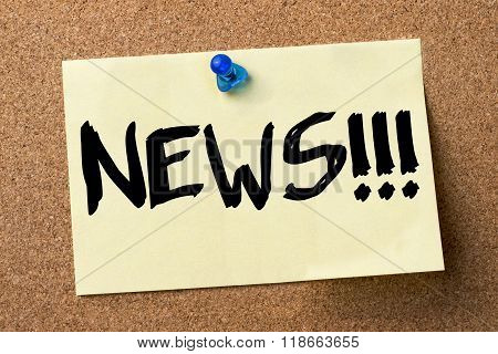 News!!! - Adhesive Label Pinned On Bulletin Board