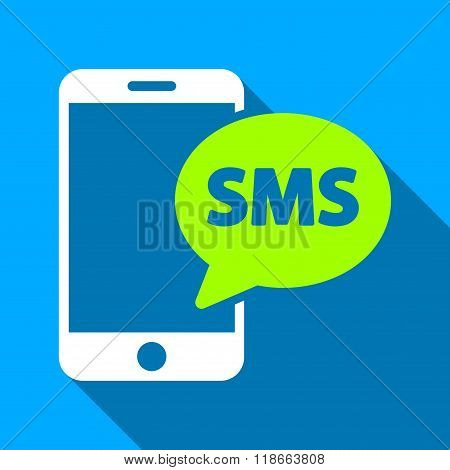 Phone SMS Flat Long Shadow Square Icon