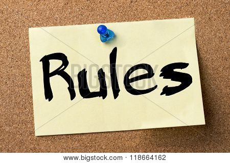 Rules - Adhesive Label Pinned On Bulletin Board