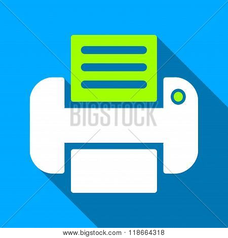 Print Flat Long Shadow Square Icon