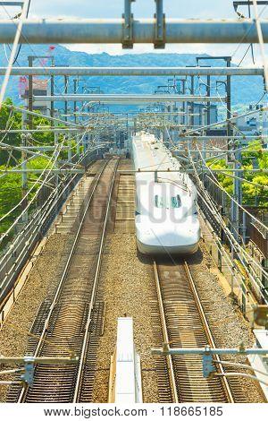 Shinkansen Bullet Train Approaching Kyoto Head On